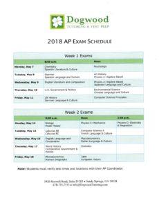 AP 2018 schedule